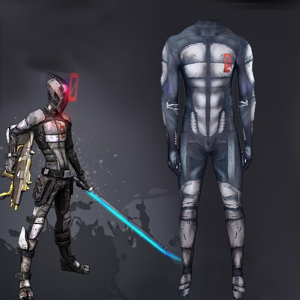 Game <font><b>Borderlands</b></font> 2 Assassin Roles Cosplay <font><b>Costume</b></font> Lycra Tight Jumpsuit Adult Man Child Masquerade Performance Clothing image