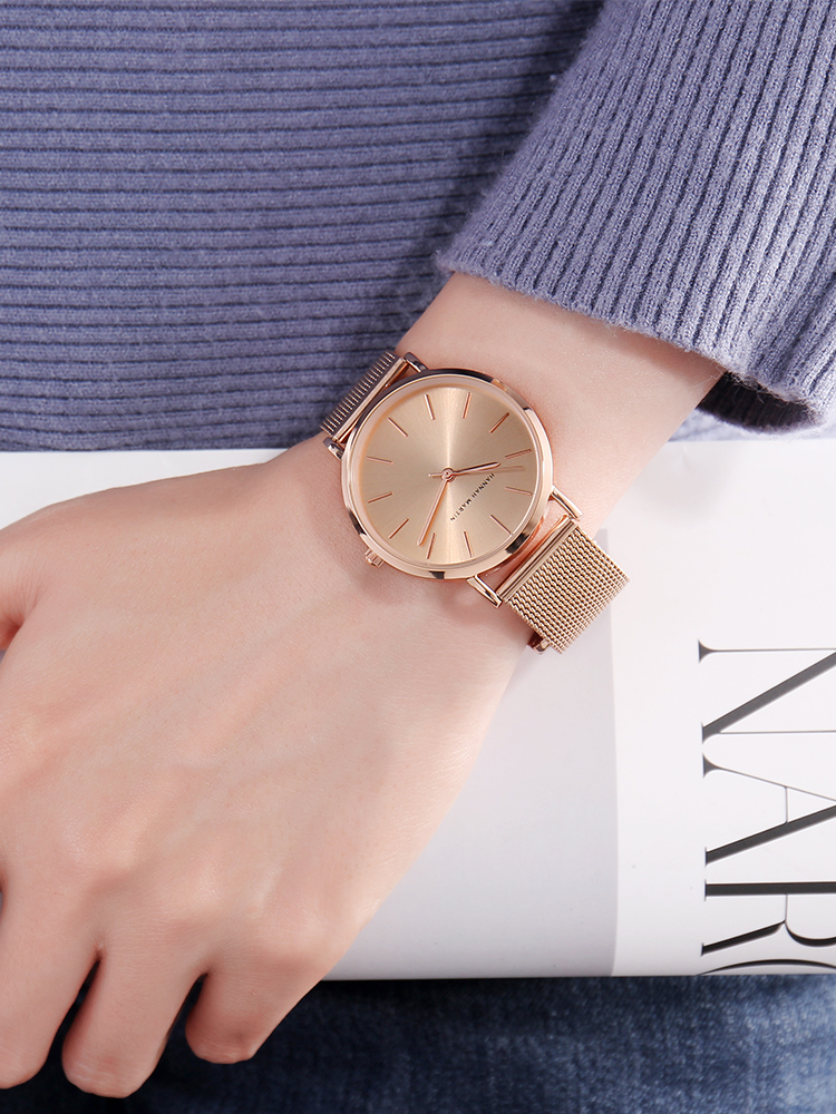 Ladies Watches Bracelet Quartz-Movement Rose-Gold Stainless-Steel Creative-Design Waterproof