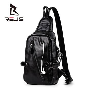 REJS LANGT Pu Leather Men's Chest Bag Retro Design Casual Crossbody Bags Headphone Design Shoulder Bag Anti-Theft Messenger Bags