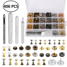 406pcs Leather rivets eyelets buttonholes durable buttons Chicago screws Press Studs Snap Button Snaps Clothing Tool Kit metable 160 sets snap fasteners durable metal snap button kit tool press studs with base fixing tool for overalls backpacks