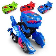 1pc Transforming Dinosaur LED Car With Light Sound Kids Toy Gift