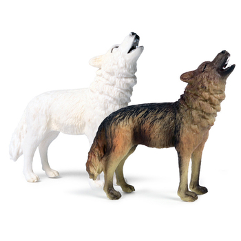 Classic Simulation Savage Wild Wolves Animals Model Action Figures Baby Gray Wolf Wolfhound PVC High Quality Education Toy Gifts image