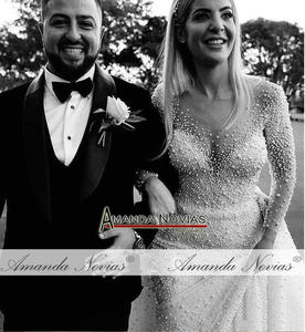 Image 2 - Dubai düğün elbisesi tam inciler düğün elbisesi ayrılabilir tren ile 2020 gelinlik