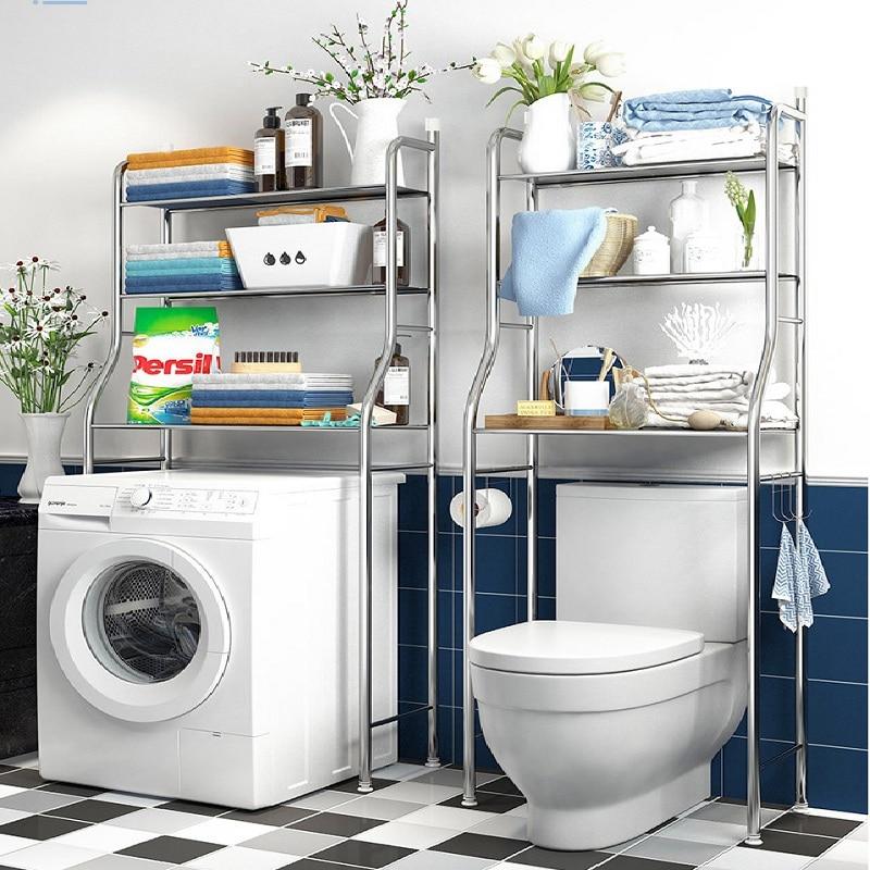 Stainless Steel Floor Type Bathroom Shelf, Toilet Shelf, Bathroom Shelf, Sorting Shelf, 3-layer Metal Laundry Rack