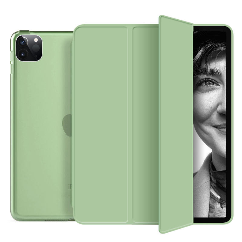matcha green Green Funda For iPad Pro 2020 12 9 inch 4th Case PU Leather Trifold Stand PC Hard