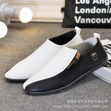 2019 Autumn mens shoes leather loafers slip on flats New Korean Trend Joker Soft Flat Old Beijing Men's Shoes Yasilaiya недорого