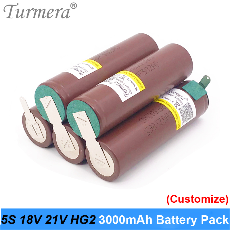 Turmera 18650 Battery 5s 18v Welding 18650 HG2 30A 3000mah Battery for 18V Screwdriver Battery and Vacuum Cleaner Customized image