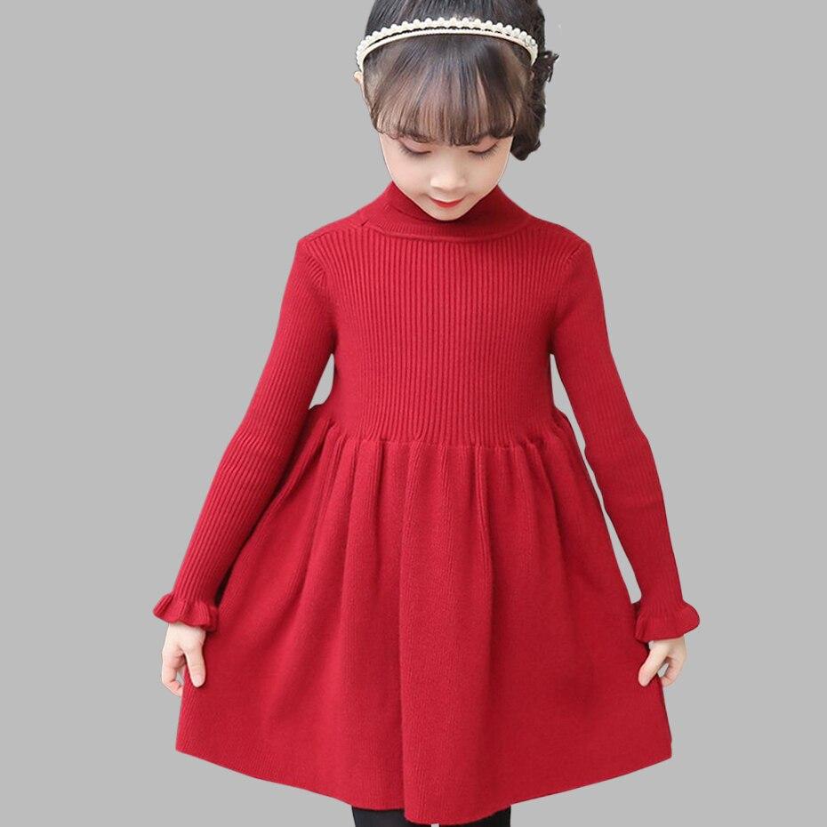 Girls Dress Solid Knitted Dress Girls Turtleneck Sweater Dress Girl Autumn Winter Kids Girls Clothes 6 8 10 12 14 YearDresses   -