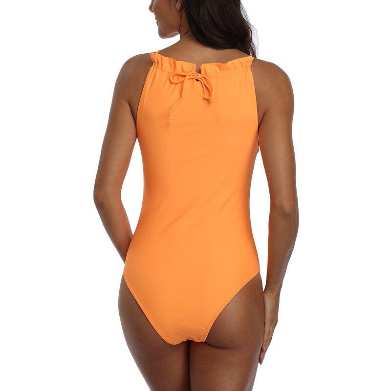 Image 5 - Riseado Ruffled Swimsuits One Piece Solid Swimwear Female 2020 New Beach Wear Black Bathing Suits Sexy Bodysuit Tie Bath Suit    -