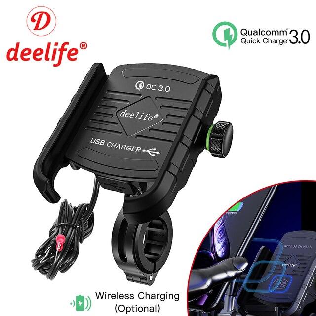 Deelife motocicleta suporte do telefone móvel com carregador usb qc 3.0 para moto espelho gps suporte de montagem do telefone celular suporte