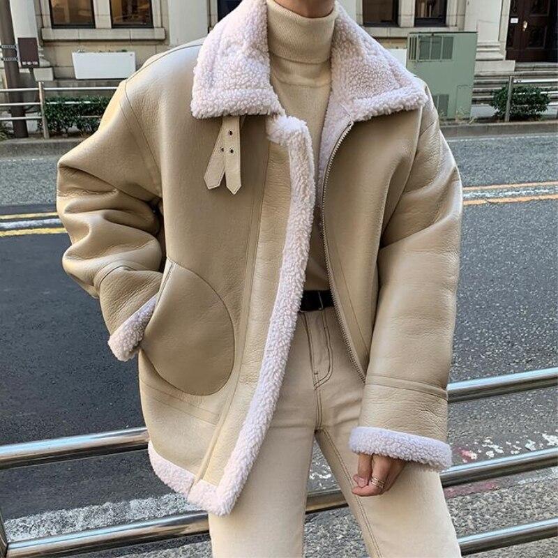 Зимняя кожаная куртка из овечьей шерсти, Мужская теплая Толстая парка, Мужская модная повседневная кожаная куртка, Мужская свободная