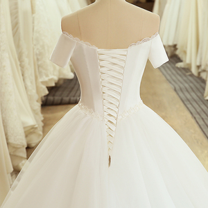 Image 5 - SL 5054 Princess Sample Bridal Dress Corset Ball Gown Off the Shoulder Short Sleeve Lace Belt Cheap Wedding Dress China