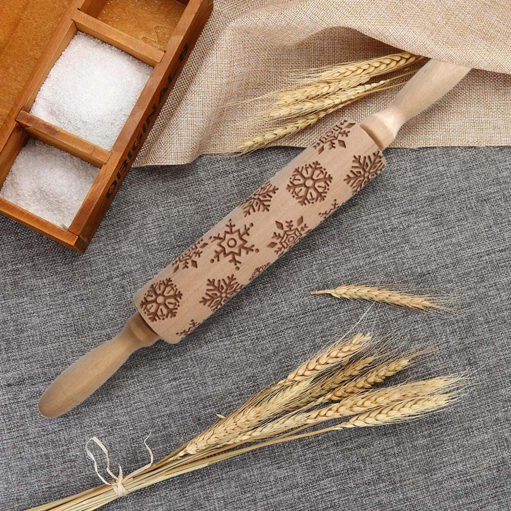 Textured Non-Stick Designs Wooden Embossed Rolling Pin for Cookies/Biscuit/Fondant Cake 3