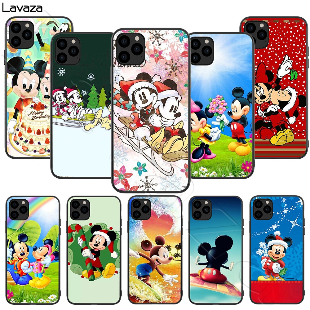 Lavaza Christmas <font><b>Mickey</b></font> Minnie Silicone Soft Case for <font><b>iPhone</b></font> 11 Pro XS Max XR X 8 7 6 <font><b>6S</b></font> Plus 5 5S SE image