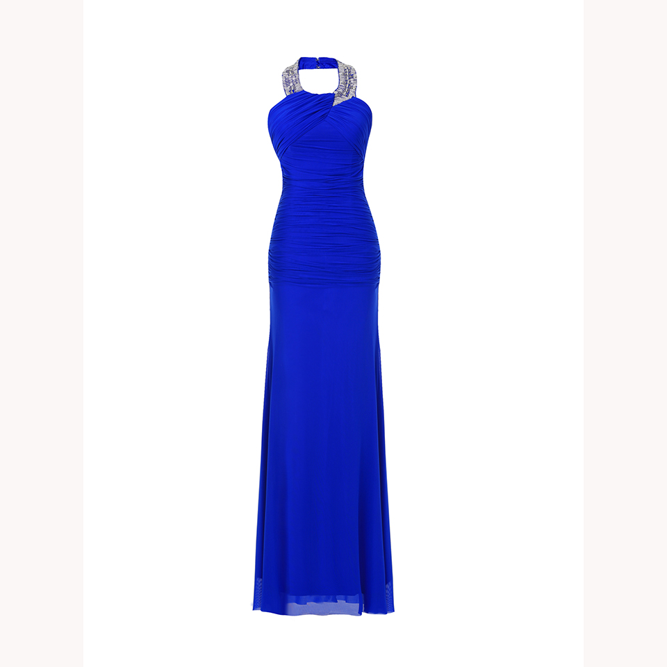 Dressv Royal Blue Long Evening Dress Cheap Halter Neck Beading Wedding Party Formal Dress Sheath Evening Dresses