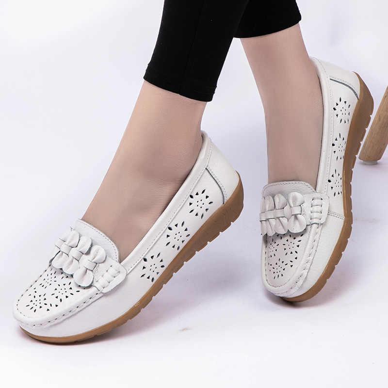 2020 รองเท้าสตรี WEDGE Heel ผู้หญิง Loafers หนังแท้รองเท้ารองเท้าแตะบัลเล่ต์ Bowtie รองเท้าสตรี 35-44