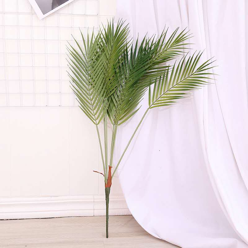 80cm8 forquilha grande palmeira artificial verde tropical planta de plástico monstera folha interior vaso jardim sala estar natal deco