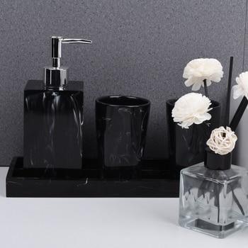 Toothbrush Holder Soap Dispenser Marble Texture Bathroom Supplies Black 4Pcs Resin Bathroom Accessories with Dispenser