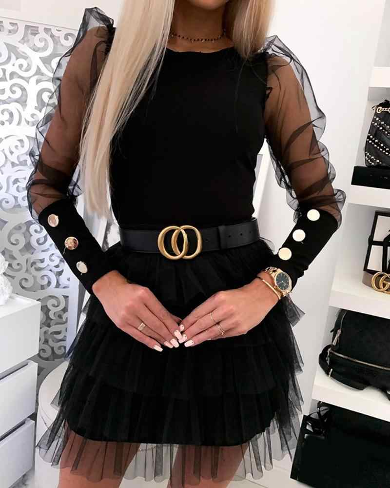2020 Brand New Women Slim Bottoming Shirts Buttons Cuff Mesh Sleeve Solid Tops Fashion Female Puff Shoulder O-Neck Shirts