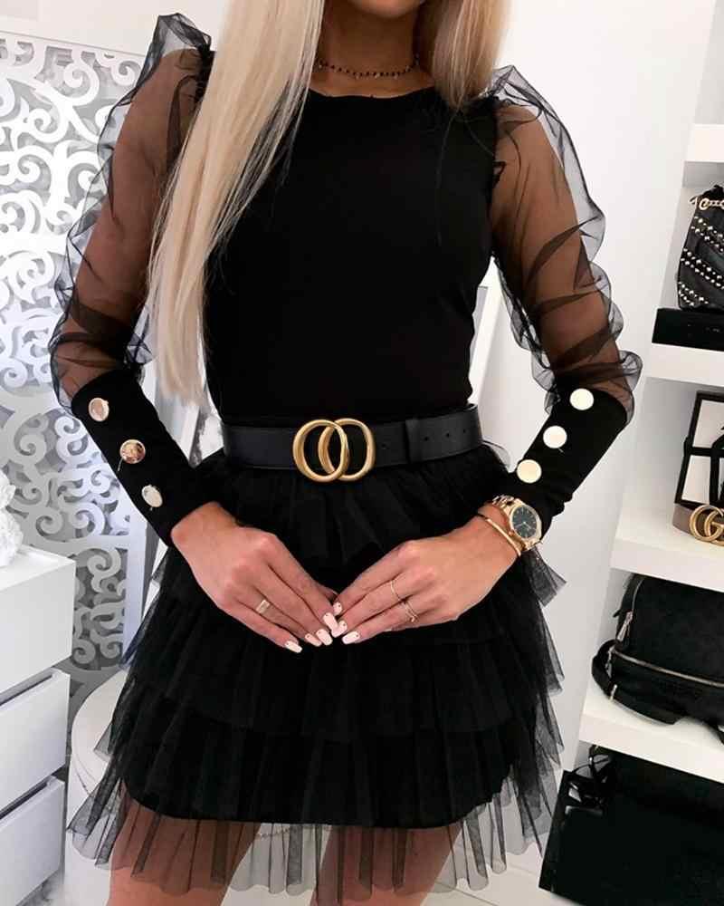2020 yepyeni kadın ince dibe gömlek düğmeleri manşet örgü kollu katı üstleri moda kadın puf omuz o-boyun gömlek