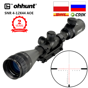 ohhunt SNR 4-12x42 AOE Hunting Riflescope Red Illuminated Glass Etched Reticle Sniper Optic Rifle Scope Sight with Ring 1