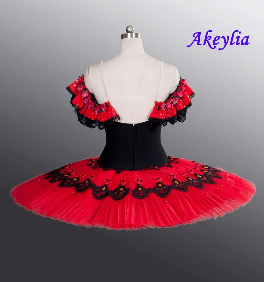 Classical Don Quixote Ballet Tutu Costume Red Professional Ballet Tutus Girl Ballet Spanish Ballerina Pancake Tutu La Esmeralda in Ballet from Novelty Special Use