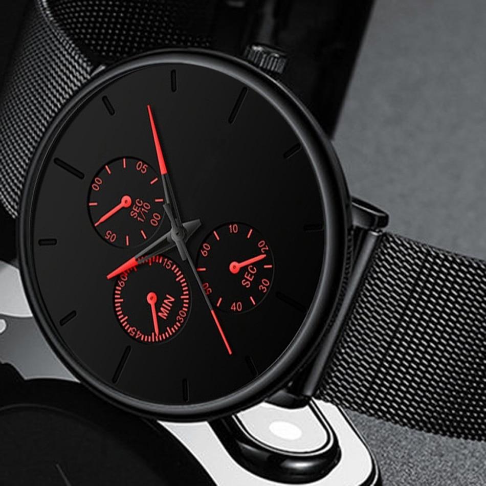 Mens Watches Business Steel Mesh Belt Quartz Wrist Watch Luxury Men Ultra Thin Male Clock Sport Watches Relogio Masculino 2020