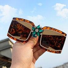 Vintage occhiali da sole di diamante delle signore di marca di lusso di strass specchio occhiali da sole 2020 di modo della donna di un pezzo occhiali quadrati occhiali