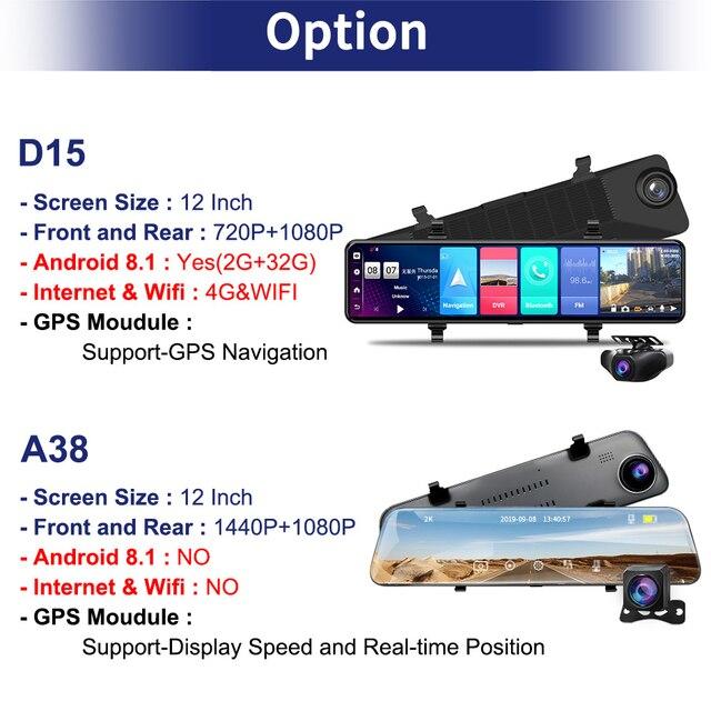 "ACCEO12"" Car DVR Rearview Mirror 4G Android 8.1 Dash Cam GPS Navigation ADAS FHD 1080P Auto Video Recorder Camera WiFi Dashcam 6"