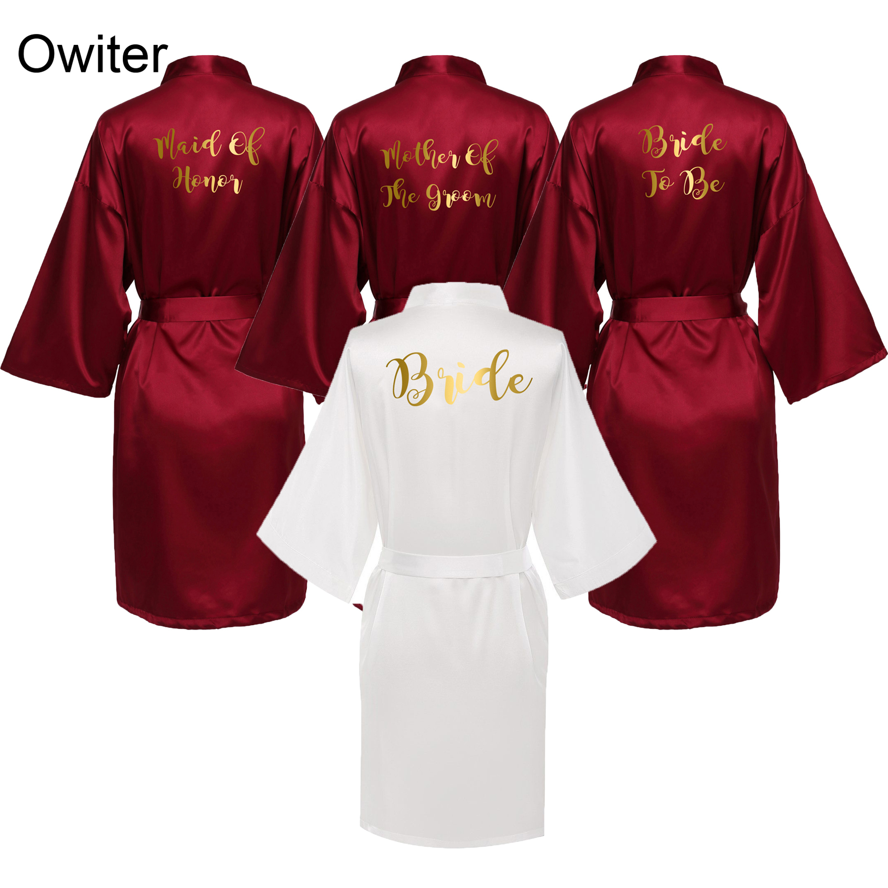 Owiter Bride Robe Women Burgundy Robe Satin Silk Robes Wedding  Bridal Bridesmaid  Robes