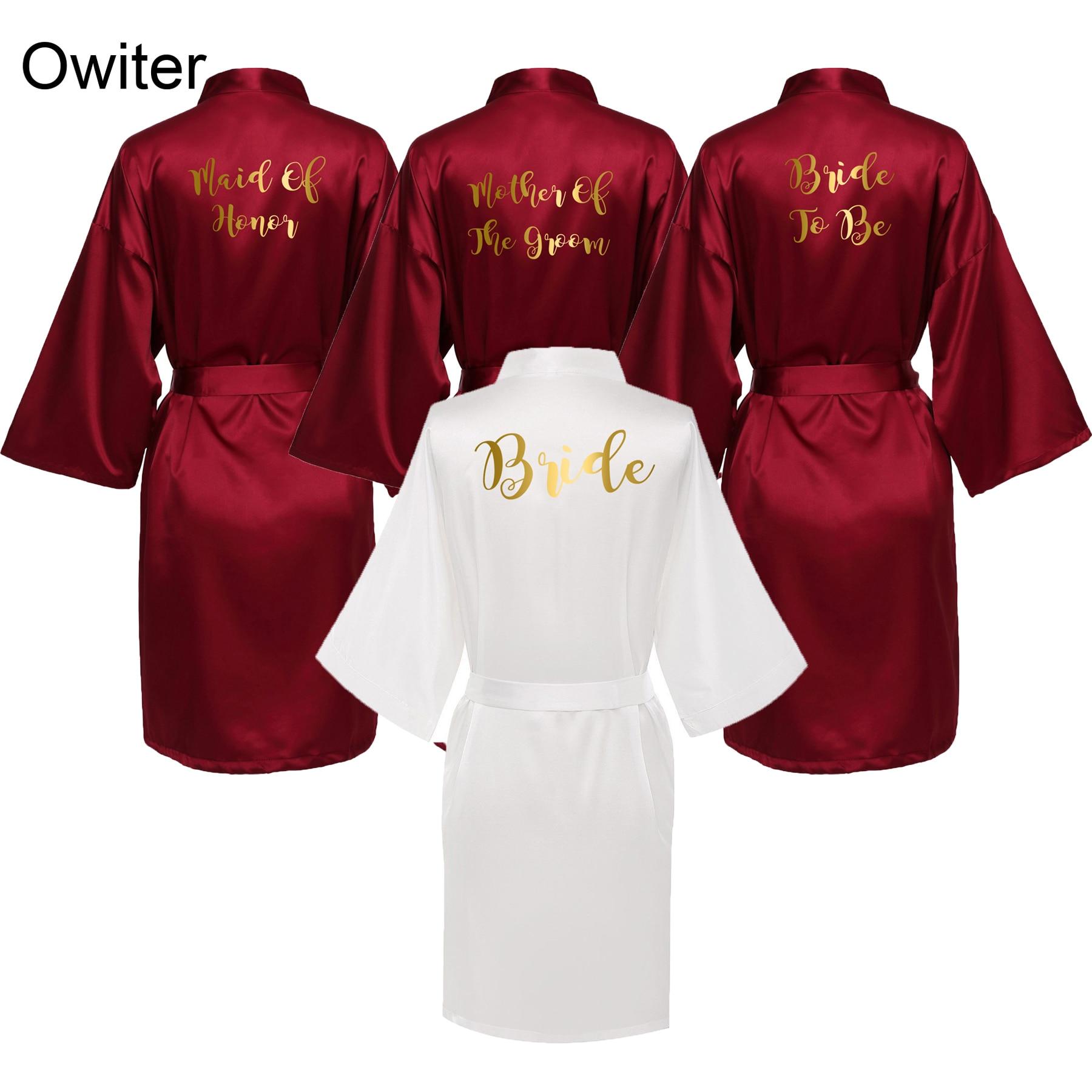 Owiter Bride Robe Women Burgundy Robe Satin Silk Robes Wedding  Bridal Bridesmaid  Robes