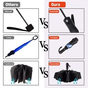 Image 5 - 역방향 접이식 소형 여행 자동 우산 인사이드 아웃 썬 비 여성 우산 10 갈비 여성용 Unbrellas