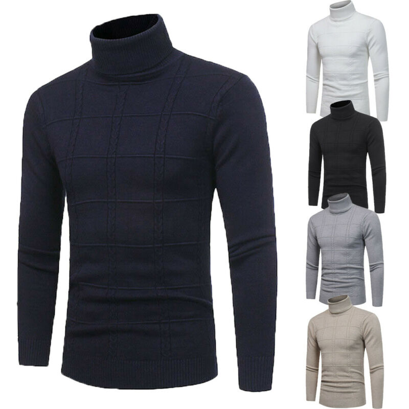 Adult Unisex Mens Plain Basic Pullover Sweater Turtleneck Sweaters Slim Sweater Jumper Winter Warm Top