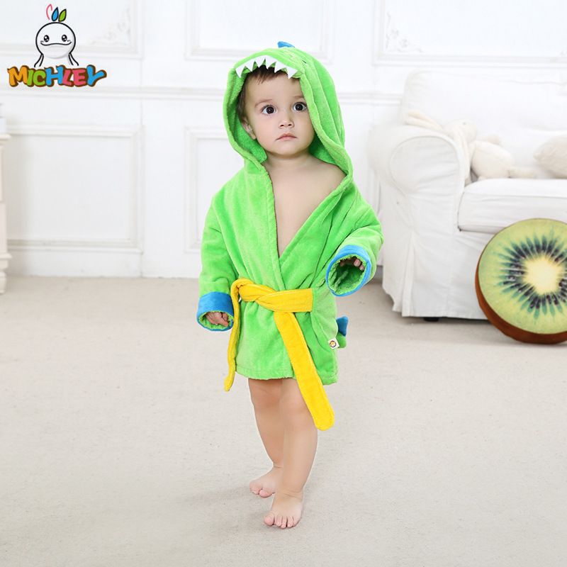 Michley CHILDREN'S Bathrobes 0-1-Year-Old 100% Cotton Bath Towel Cartoon Little Dinosaur Cute Pajamas Animal Baby Beach Towel