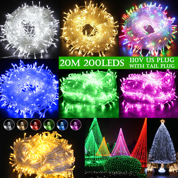 Sale Fairy LED string light Christmas Party Holiday US Plug Outdoor Waterproof Wedding Connectable with Tail Plug Home Decor D30 us plug eu plug 20m 200leds outdoor waterproof led string light connectable with tail plug wedding christmas party holiday d30