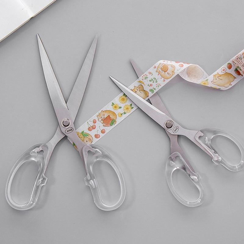 1 PC Simple Stainless Steel Scissors Transparent Plastic Art Scissors Paper Cutting Student Stationery Office DIY Craft Supplies