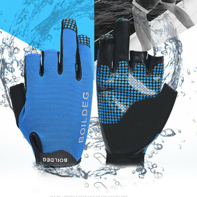 Outdoor Sun Protection Fishing Gloves 3 Cut Finger Waterproof Non-Slip Gloves