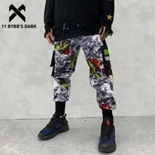 11 BYBBS DARK Hip Hop Big Pocckets Graffiti Men Harem Cargo Pants 2019 Harajuku Sweatpants Joggers Trouser Streetwear Oversized