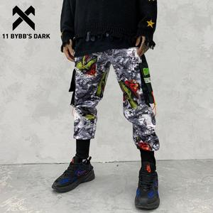 Image 1 - 11 BYBBS DARK Hip Hop Big Pocckets Graffiti Men Harem Cargo Pants 2019 Harajuku Sweatpants Joggers Trouser Streetwear Oversized