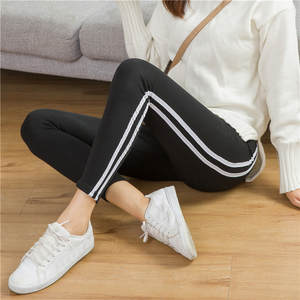 Women Leggings Plus Size Cotton High Waist Thin Side Striped Leggings For Women Slim High Stretch Legins Push Up Femme  J6