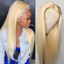 Monstar 613 rubio platino 13x4 peluca Frontal de encaje recto Remy brasileño 180 de densidad del pelo humano del frente del cordón pelucas con minimechones