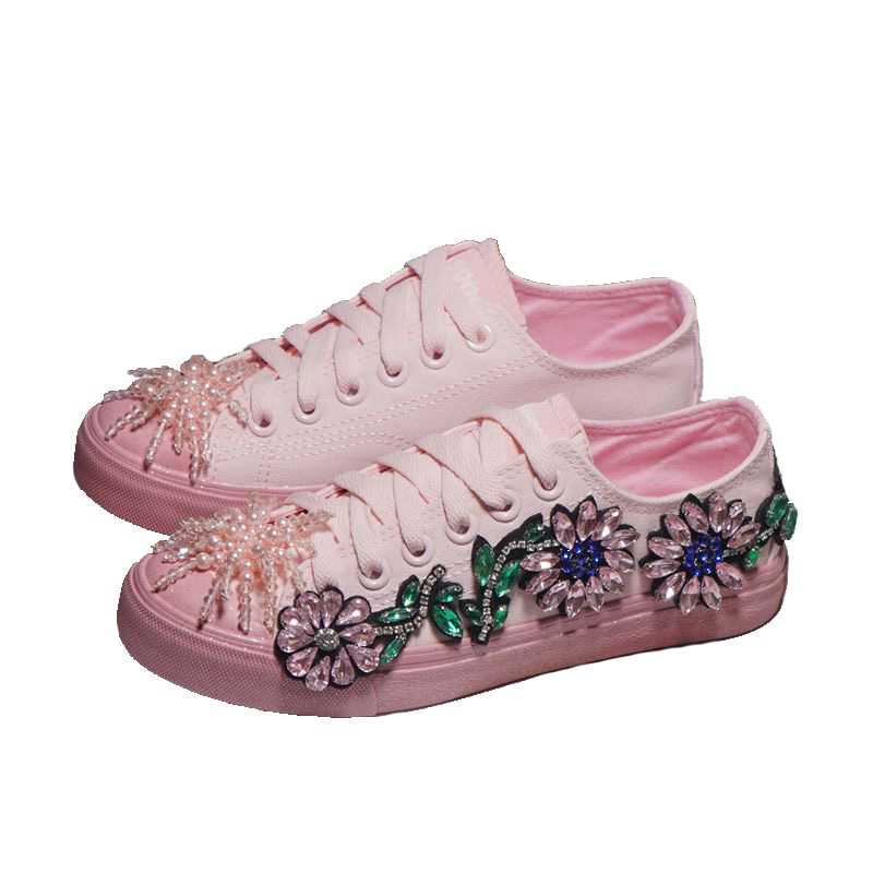 Pink Canvas Shoes Women's Bling Rhinestones Sneakers Ladies Trainers Vulcanized Shoes Spring 2020 Flower Crystal Sneaker Shoes