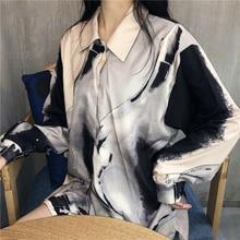 2019 New Harajuku Casual Loose Pattern Print Women Blouse Spring Summer Long Sleeves Shirt  Single Breasted