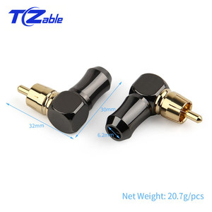 Image 2 - RCA Connector Male L type 90 degree Curved RCA Right Angle Elbow Converter RCA Plug Gold Plated Solder Wire Audio Adapter