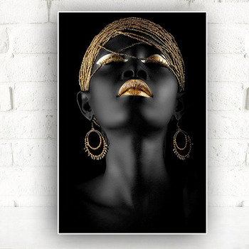 Painting of african woman with gold earrings on black background on brick wall