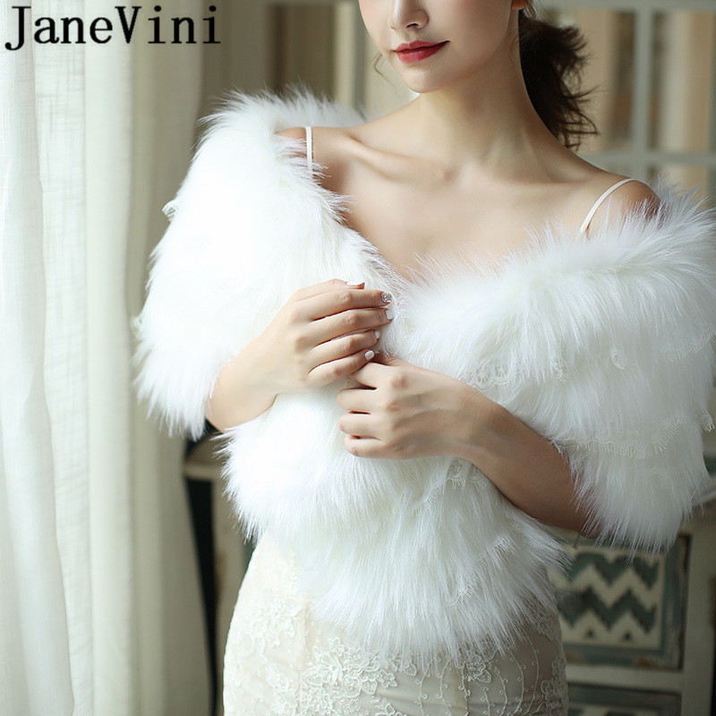 JaneVini hiver dentelle blanc fourrure enveloppement femmes Cape élégant dames fausse fourrure mariée châles veste étole mariage boléro épaule couverture