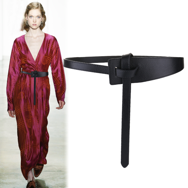 Women Knotted Simple Genuine Leather Belt Fashion Soft Cowskin Waistbands For Dress Solid Brown Cow Long Belts Coat Woman Gifts