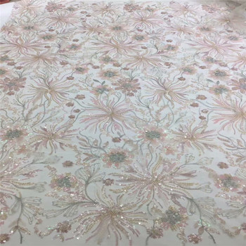 Latest african lace high quality lace 2020 african french tulle lace fabric with sequins embroidery for african wedding 67-972