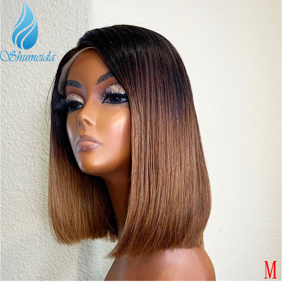 150% Density Ombre Brown  13*6 Lace Front Human Hair Wigs Middle Ratio Brazilian Remy Human Hair Short BoB Wig With Baby Hair