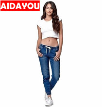 Womens jeans  Elastic Sexy Skinny Pencil Jeans Leggings Middle Waist Denim Drawstring Pants ouc457